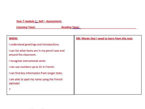 Self-assessment Feedback sheet - expo 1 module 1