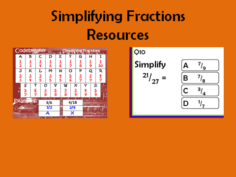 Simplifying Fractions: 2 resources