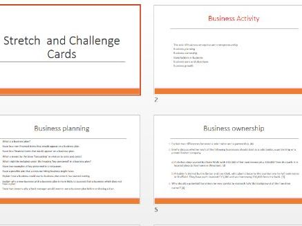 GCSE Business - Stretch and Challenge Cards (New Spec)