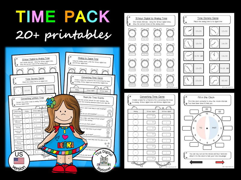 Time Pack (telling the time - analog & digital) (US version) - 20+ printables