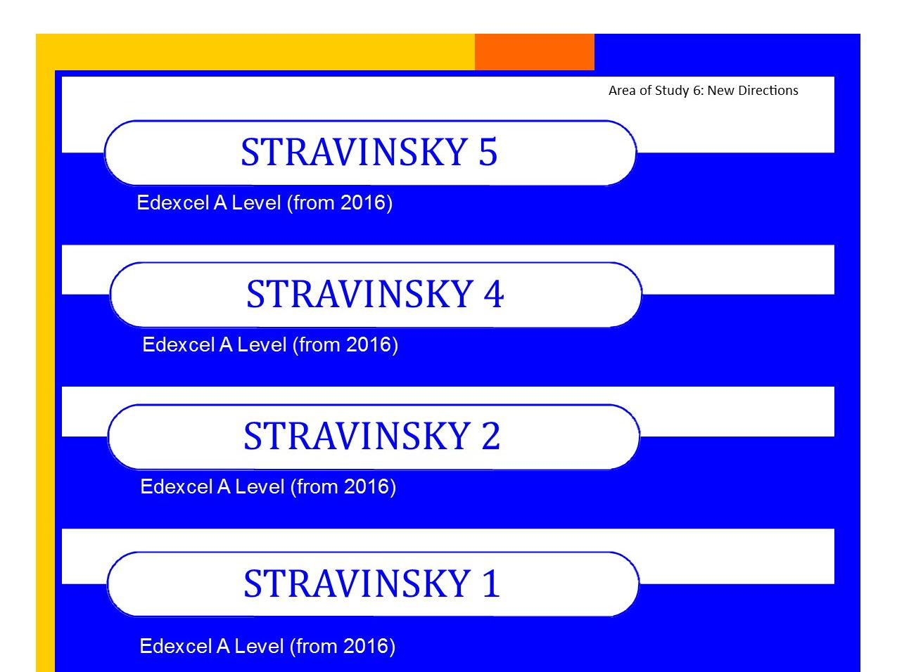 Bundle of Edexcel Music A level (from 2016) Stravinsky worksheets 1,2,4 and 5 PLUS Elements of Music summary sheets.