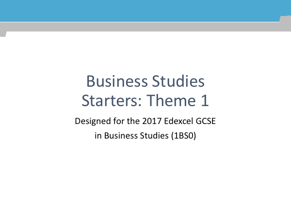 GCSE Business Studies Starters for Edexcel (1BS0)