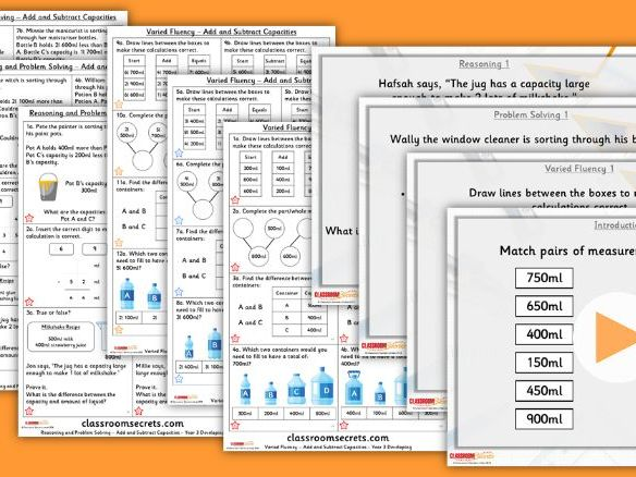 Year 3 Add and Subtract Capacities Summer Block 4 Step 8 Lesson Pack