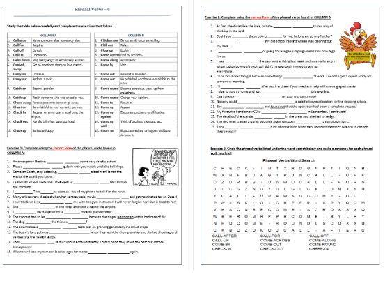 Phrasal Verbs Beginning with C: Worksheet / C- Phrasal Verbs