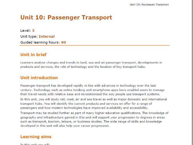 Passenger Transport U10 Scheme of Learning NEW SPEC T&T L3 U10