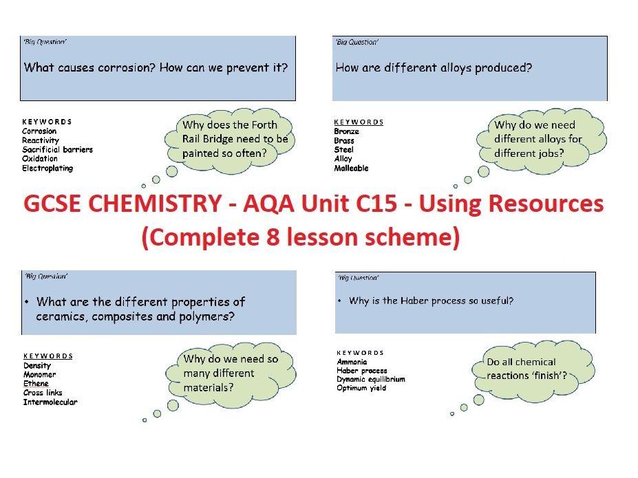 AQA GCSE Chemistry - C15 - Using Resources complete unit