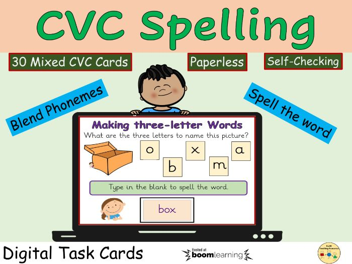 CVC Words Spellings Phonics Boom Cards Digital Task Cards Distance Learning