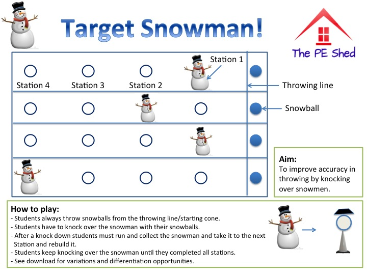Hit the Snowman - Physical Education Christmas Game