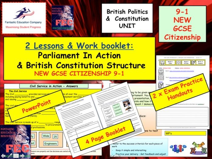 Parliament in Action - UK Government and politics 2 x GCSE Citizenship 9-1 lessons