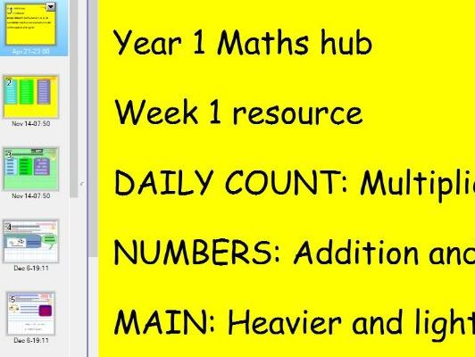 Year 1 MATHS HUB smart slides presentation heavier and lighter - Day 1