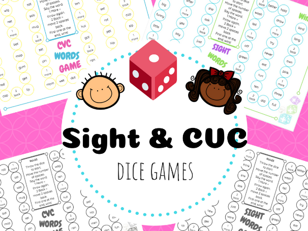 Sight words & CVC Words Dice Game