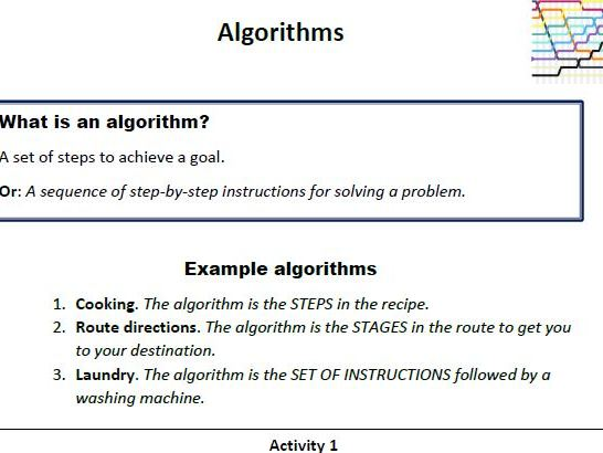 Algorithms, an introduction