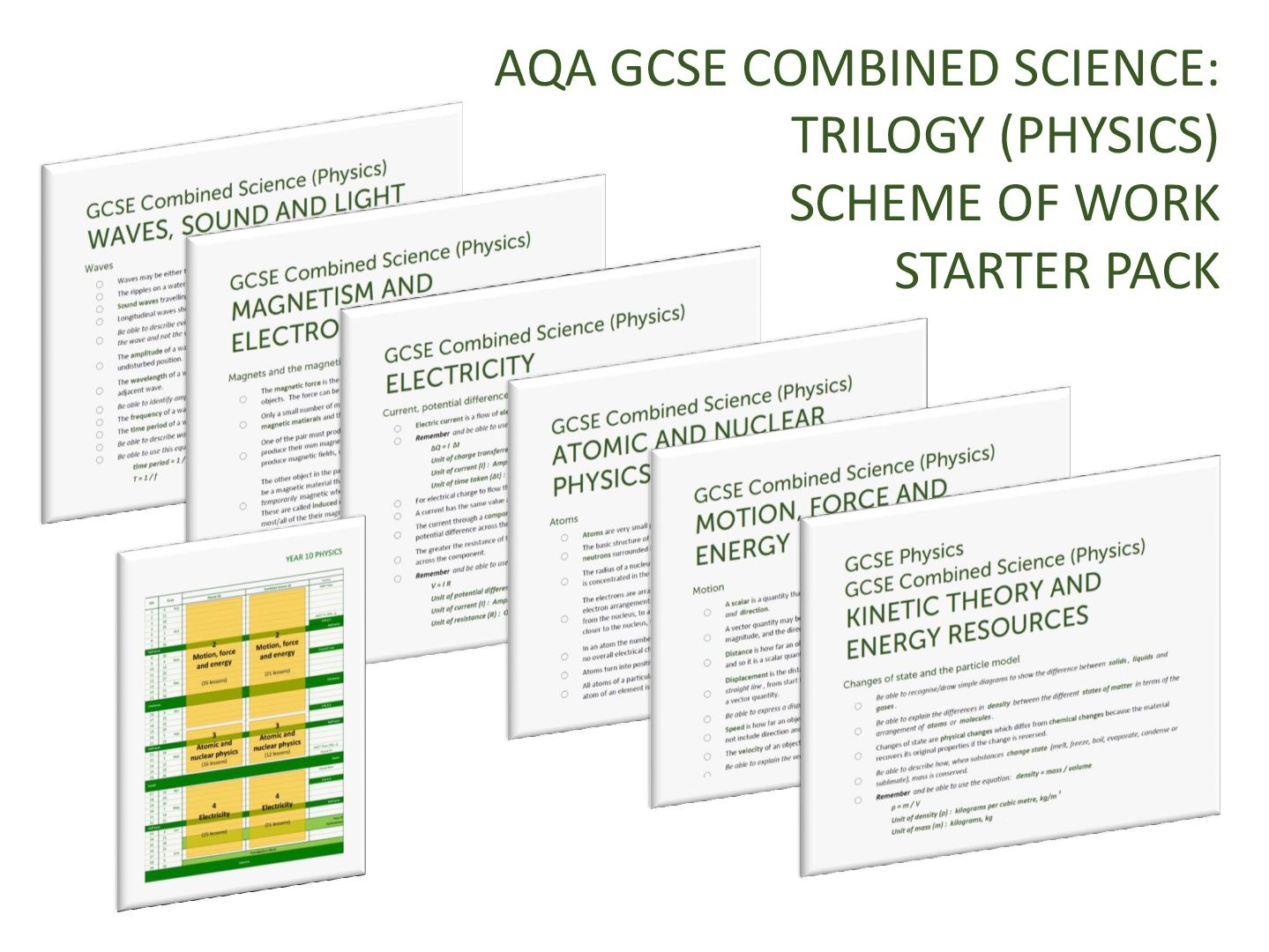 PHYSICS SCHEME OF WORK STARTER PACK for AQA GCSE Combined Science: Trilogy (Physics)