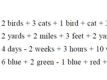 Like and unlike terms worksheet (Algebra)