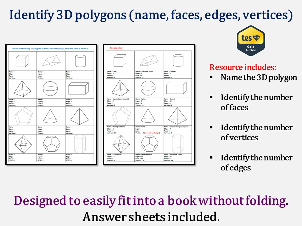 Identify 3D polygons (name, edges, faces, vertices - answers included)