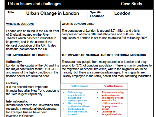 AQA GCSE Geography Paper 2 Case Studies
