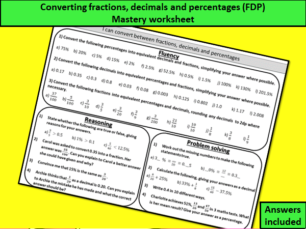 Converting fractions, decimals and percentages (FDP) - mastery worksheet