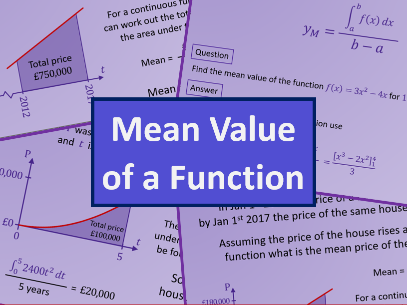 Mean Value of a Function - AS level Further Maths