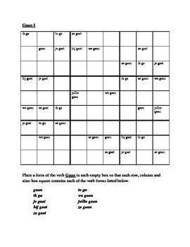 Gaan Dutch verb Sudoku