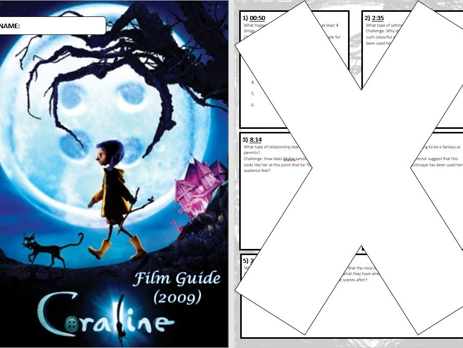 Coraline Film Question Booklet Teaching Resources