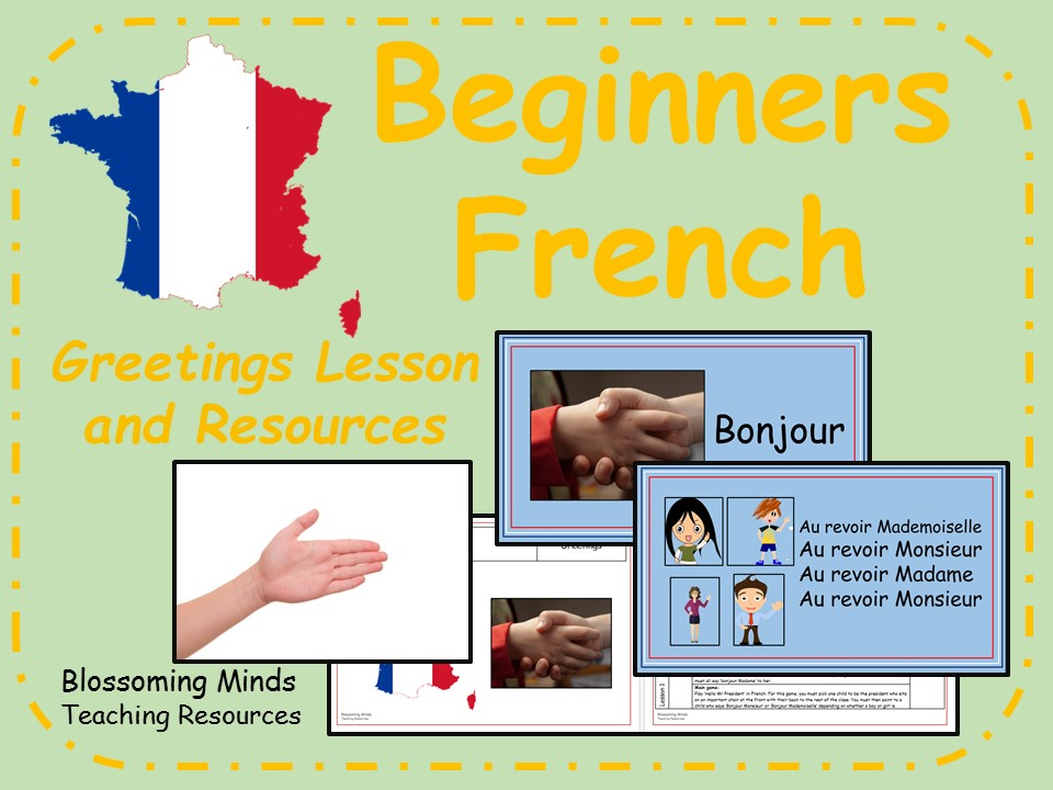 french lesson and resources ks2 greetings beginners by blossomingminds teaching. Black Bedroom Furniture Sets. Home Design Ideas
