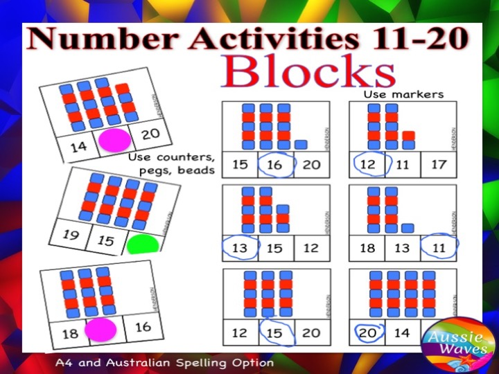 Printable Kinder Maths Centre Activity COUNTING NUMBERS 11-20 BLOCKS