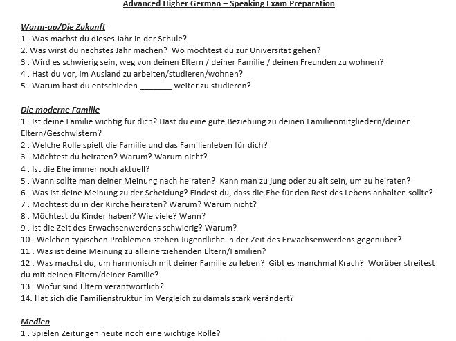 Cfe Advanced Higher German Speaking Questions and Model Answers