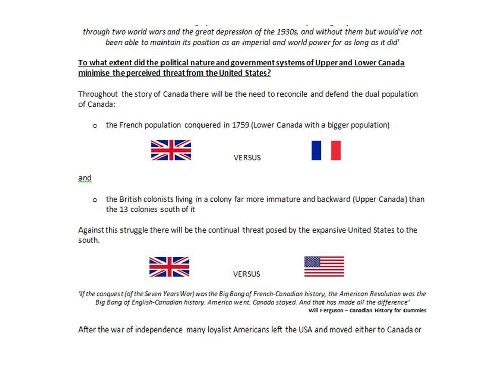 Gaining and Losing an Empire: 1763-1914 : Canada Overview/Revision Booklet