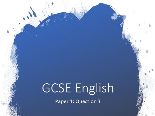 Question 3 Structure GCSE English Language 1-9 Paper 1 complete lesson