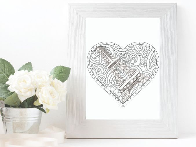 Paris Colouring Page with Heart Shaped Mandala