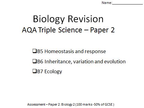 AQA Biology  GCSE revision paper 2 B5-7