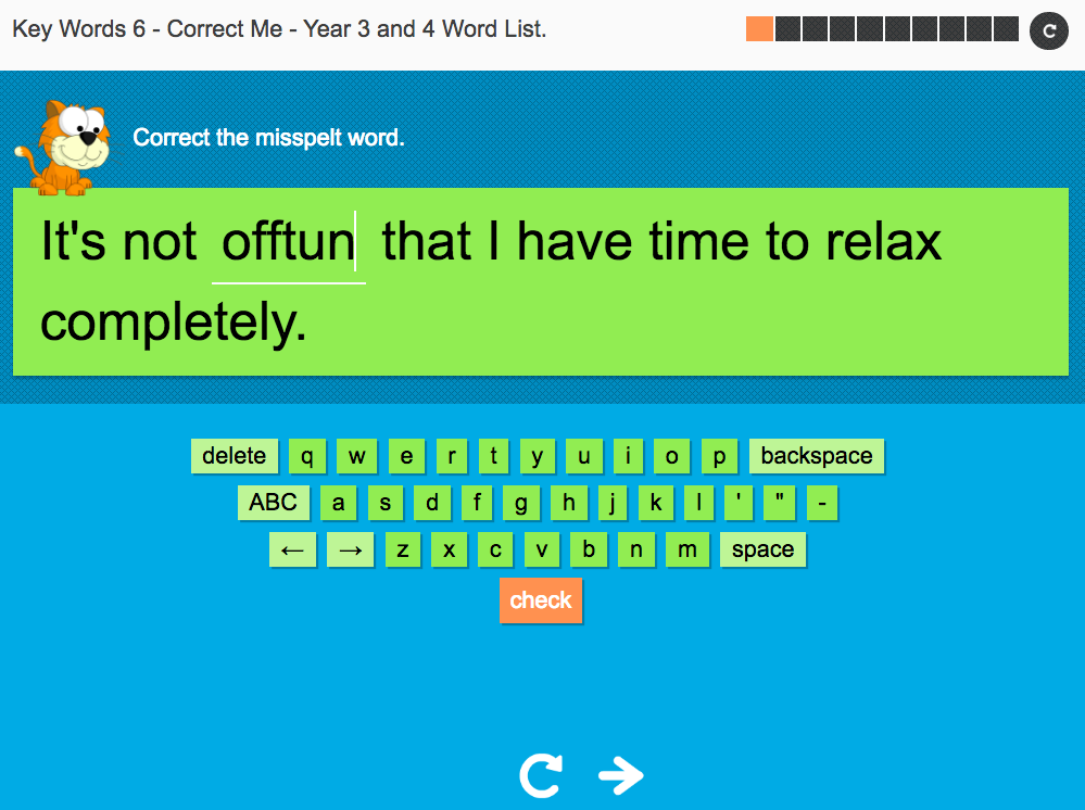 Key Words Spelling Interactive Exercise 6 - Correct Me - Year 3/4 Spag