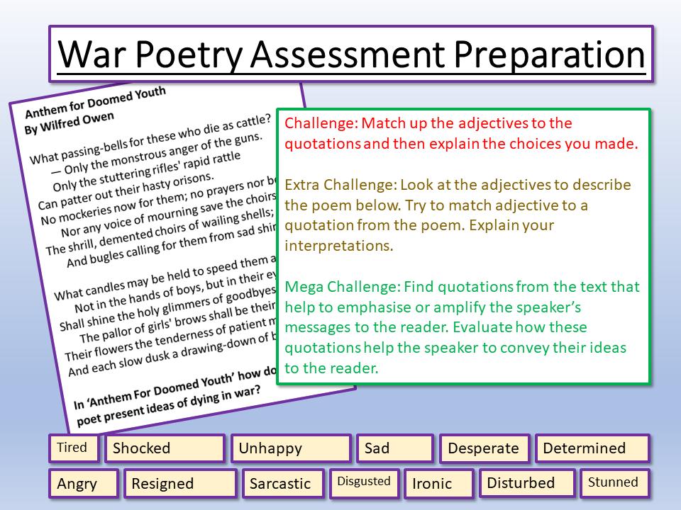 War Poetry Assessment Preparation