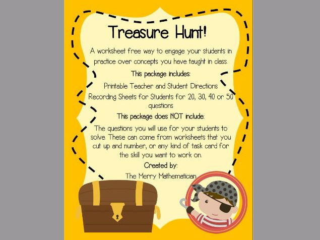 Treasure Hunt Activity for Reviewing Any Subject