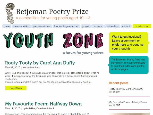 Engaging in Poetry - Youth Zone