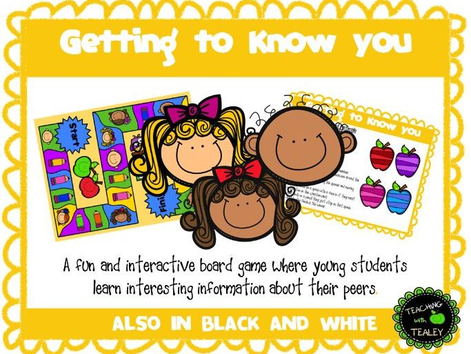 Getting to Know You - Back to School Board Game