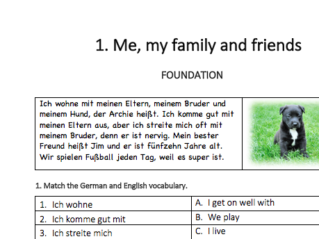 GCSE German Reading Workbook Sample