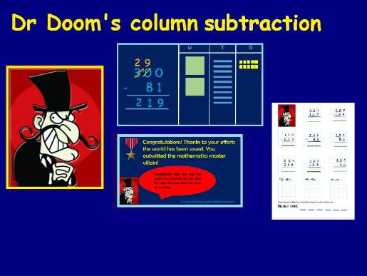 Column subtraction Year 3 featuring Dr Doom!