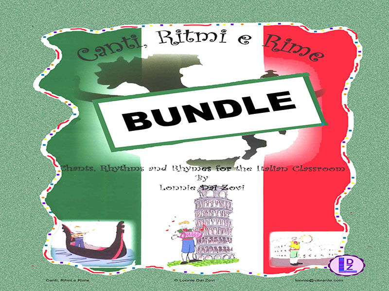 Learn Italian  With Canti, Ritmi e Rime –21  Musical BUNDLE  with Exercises for the Italian Class