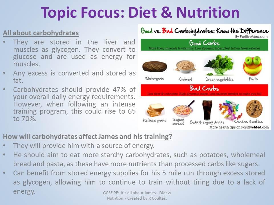 GCSE PE Diet & Nutrition Revision - Linked to James Scenario (AQA) 2017