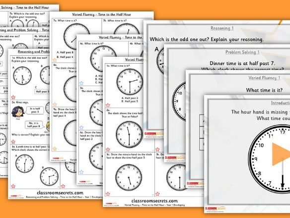 Year 1 Time to the Half Hour Summer Block 6 Step 4 Lesson Pack