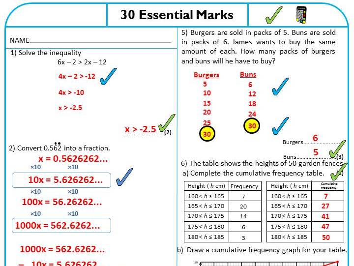 30 Essential Marks - Pack 1 - Revision Sheets for Higher Tier GCSE Mathematics