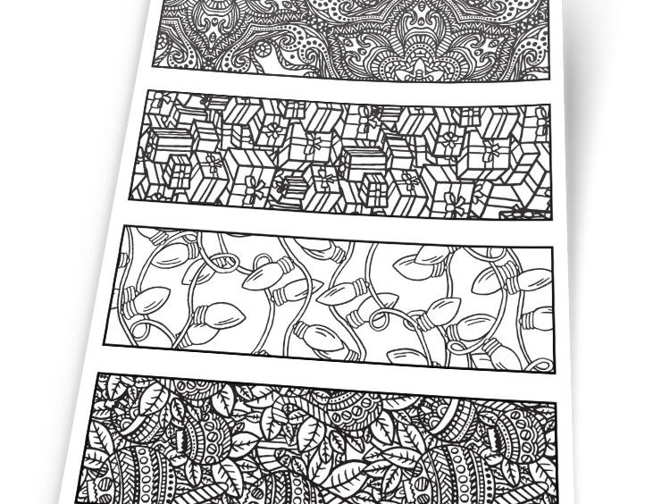 Christmas Coloring Bookmarks - Printable 8.5x11 PDF Download - Xmas Coloring page with 4 bookmarks