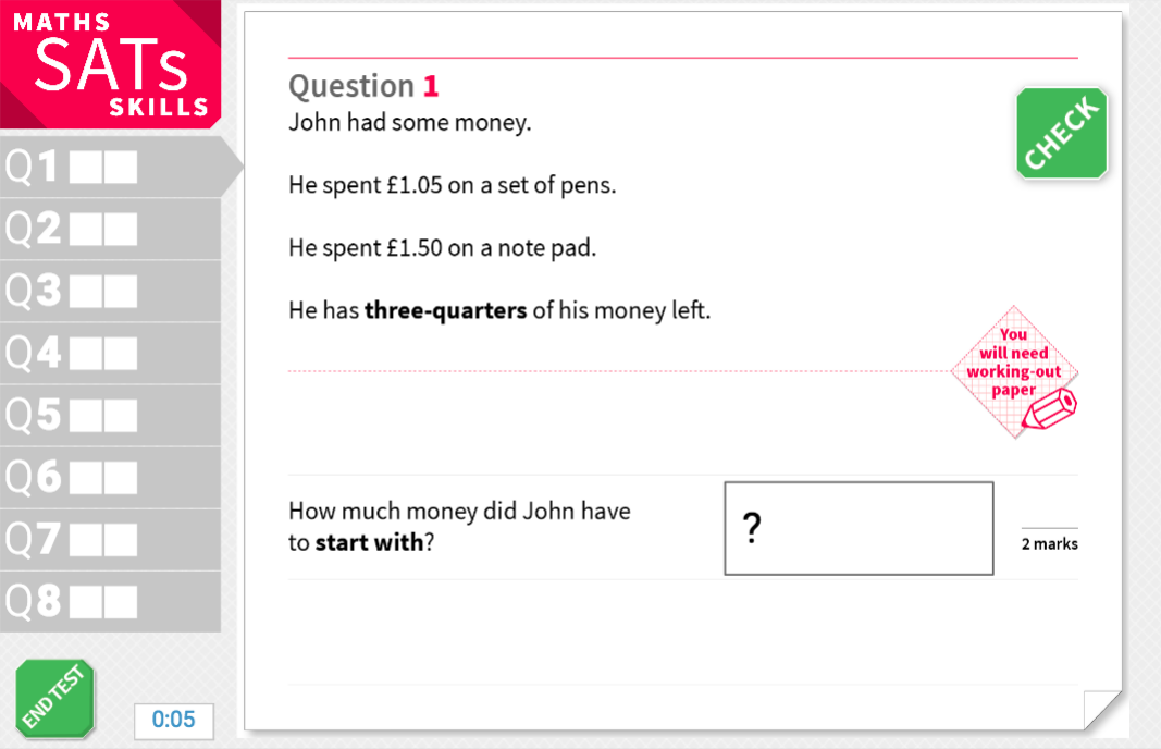 Solve fraction problems using money - KS2 Maths Sats Reasoning - Interactive Exercises