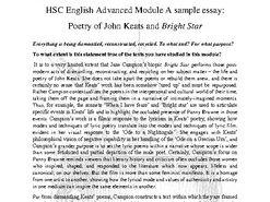 HSC Advanced English Mod A: Keats & Bright Star Sample Essay and Essay Analysis