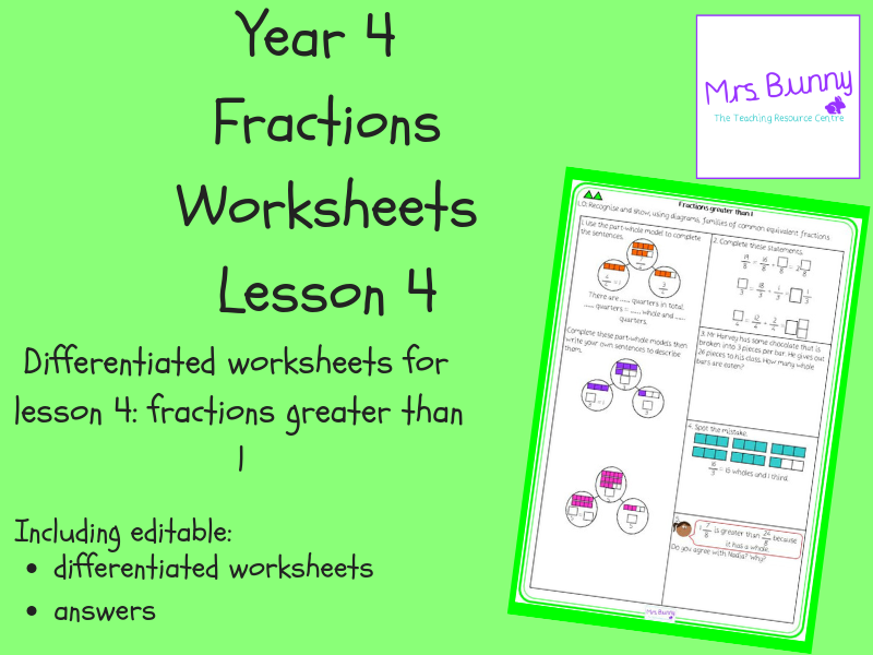 4. Fractions: fractions greater than 1 worksheets (Y4)