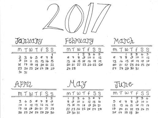 2017 Calendar and Colouring Sheet