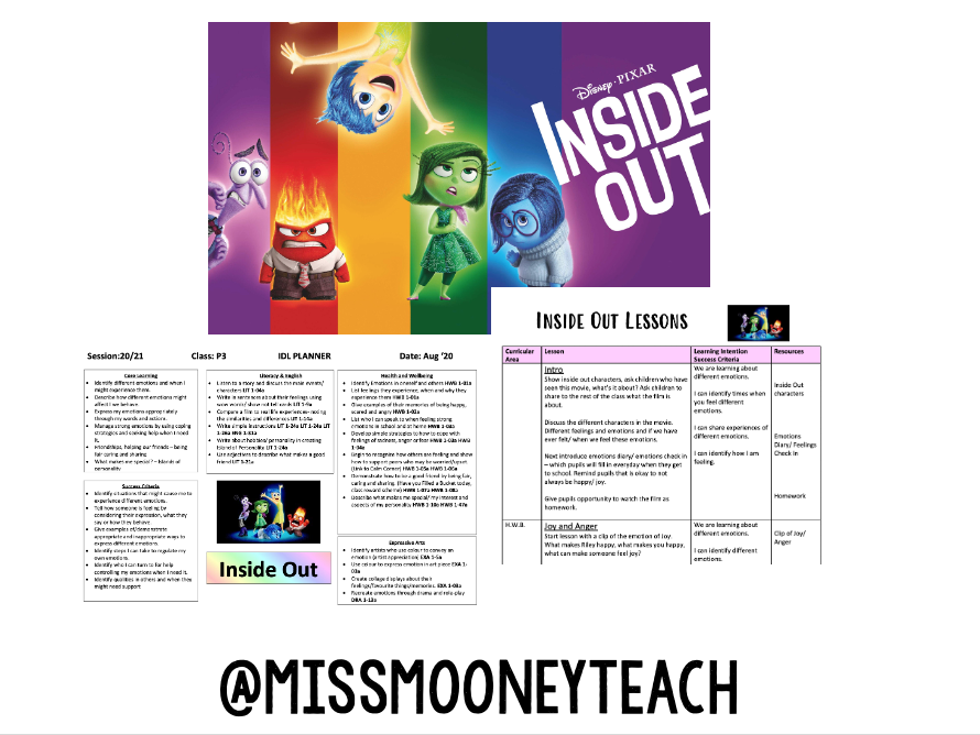 Inside Out Mini HWB Topic Planner and Lessons