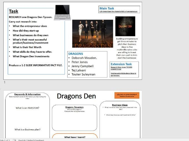 Business & Enterprise - 2/3 Lesson Activity - Dragons Den Tycoon Video & Research Task