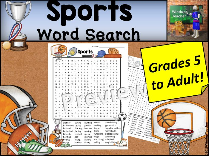 Sports Word Search - Hard for Grades 5 to Adult